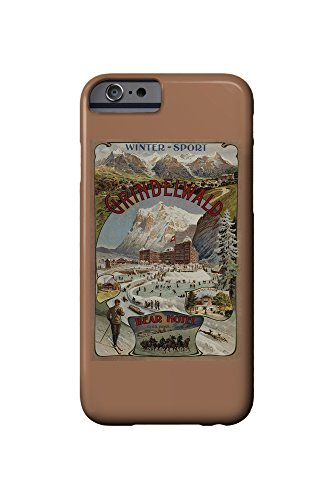 Grindelwald and Bear Hotel View - Vintage Travel Poster (iPhone 6 Cell Phone Case, Slim Barely There)