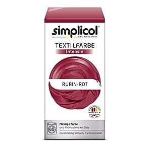 Simplicol Textilfarbe intensiv I Textilfärbung für die Waschmaschine I Färbemittel und Fixierpulver | Rubin-Rot 1804