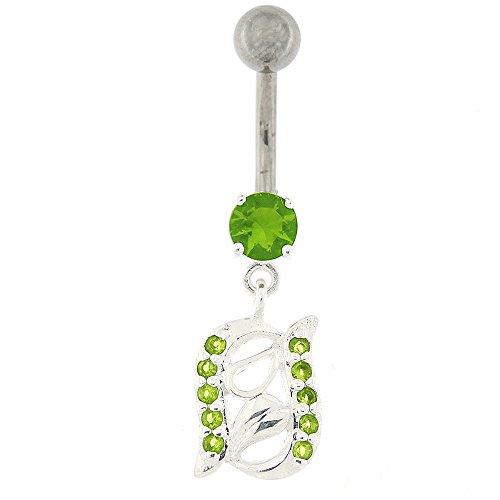 Fantaisie 2 rangées de Jeweled Leaf Design argent 925 Sterling avec anneau de nombril en acier inoxydable Vert clair