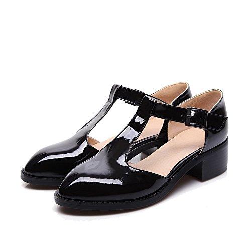VogueZone009 Femme Verni Couleurs Mélangées Boucle Pointu Chaussures Légeres Noir