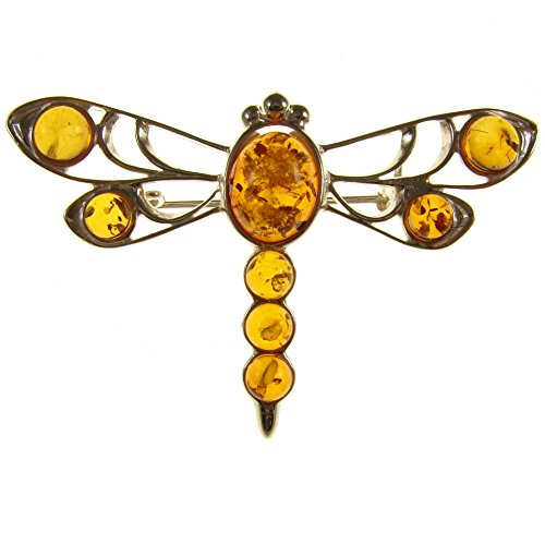 Baltic amber and sterling silver 925 designer cognac dragonfly brooch pin jewellery jewelry