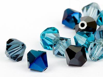 Glasperlen zum Auffädeln von Swarovski Elements Doppelkegel  4mm   (Jeans Mix), 96 Stück