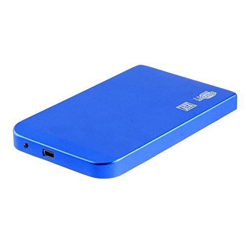 YouN Case Esterno per Disco Rigido, Ultra Thin 2.5in USB3.0 SATA SSD HDD Hard Drive Case Aluminum Box (Blue)