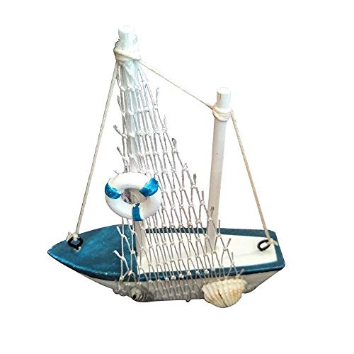 WopenJucy Miniatur-Segelboot aus Holz, Marineblau und Weiß mit Rettungsring Heimdekoration