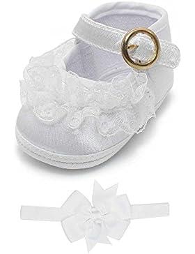Delebao Babyschuhe Taufschuhe Krabbelschuhe Weiche Sohle Schnüren Weiße Schuhe Baby Taufe Kleinkind Solekleinkind...