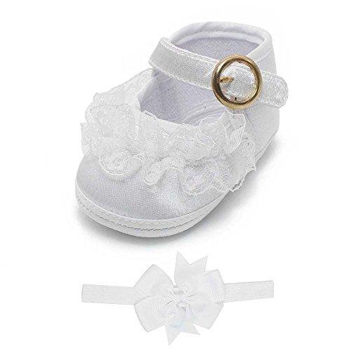 DELEBAO Babyschuhe Taufschuhe Krabbelschuhe Weiche Sohle Schnüren Weiße Schuhe Baby Taufe Kleinkind Solekleinkind Krippeschuhe für Mädchen (Schuhe&Stirnband,6-9 Monate)