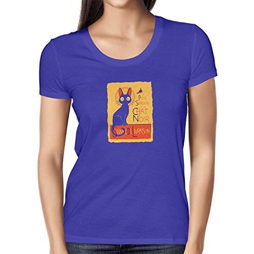 NERDO - Le Chat Noir - Damen T-Shirt, Größe L, (Kiki Hexe Kostüm)