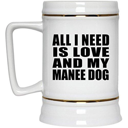 nd My Manee Dog - Beer Stein Bierkrug Keramik Bierhumpen Bar Becher Kneipenkrug - Geschenk zum Geburtstag Jahrestag Muttertag Vatertag Ostern ()