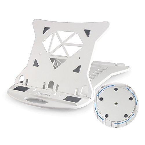 Laptop Ständer Notebook Ständer Travel Notebook Computer Ständer, Faltbare Verstellbare Notebook Halter 7 Höhenoptionen, Tragbare Laptop Tray Für Laptops Bis Zu 17 Zoll - 360 ° Rotierende - Weiß / Schwarz ( Farbe : Weiß )
