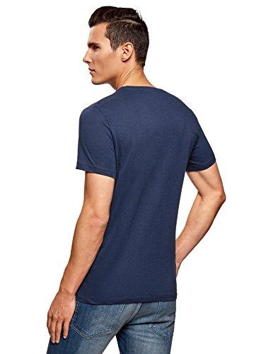 oodji Ultra Herren Tagless Baumwoll-T-Shirt mit Druck Blau (7910P)