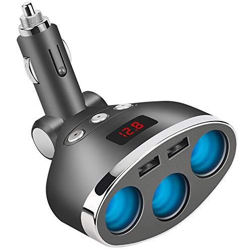 AOGUERBE 3 Puertos Adaptador Mechero Coche Dual USB Car Splitter Cigarette Lighter Adapter Encendedor Cigarrillos LED de Voltaje Digital para iPhone Android Samsung, GPS, Dash Cam, Vehicle Navegación