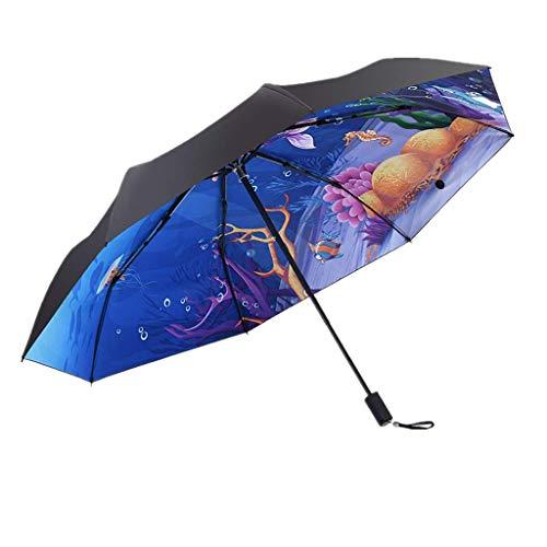 MXH Meerjungfrau Sonniger Regenschirm Göttin voller Schatten Sonnencreme Sonnenschirm Creative Keine Lichtdurchlässigkeit Taschenschirm,Blue