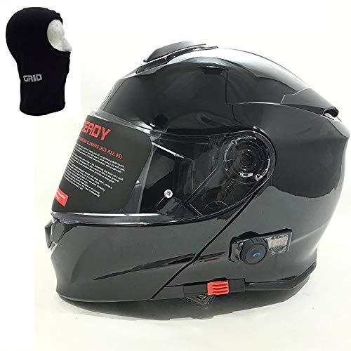 vcan V271Blinc Bluetooth avant à rabat Casque de moto GPS MP3FM Casque Interphone modulaire Noir mat avec kit d'entretien & Cagoule noir noir L