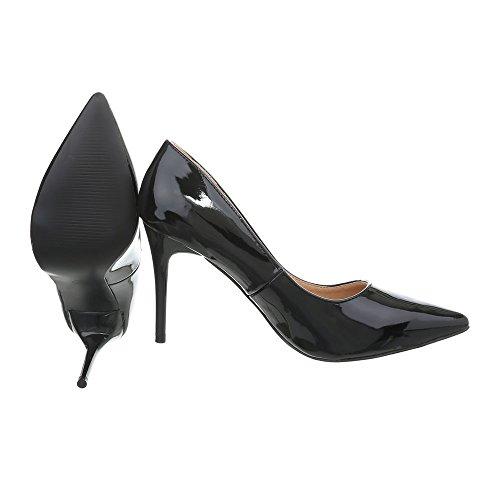 Ital-Design Klassische Pumps Damenschuhe Klassische Pumps Pfennig-/Stilettoabsatz High Heels Pumps Schwarz H18-05