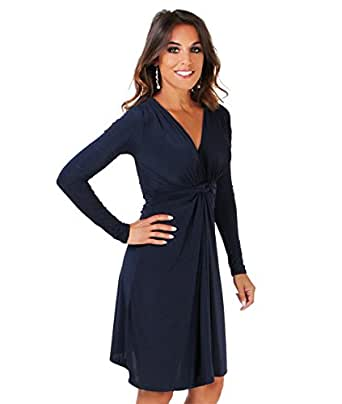 EY9878-NVY-08: Robe Drapée [Bleu,36]