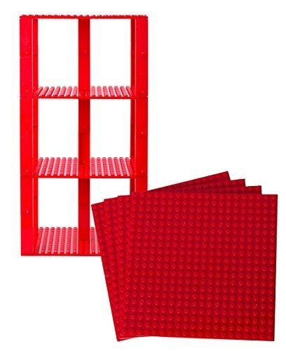 Placas base empilables de color rojo Premium - 4 Pack 15.25cm x 15.25cm Baseplate Bundle con 30 nuevos y mejorados 2x2 Stackers - Compatible con todas las marcas principales - Construcción de la torre