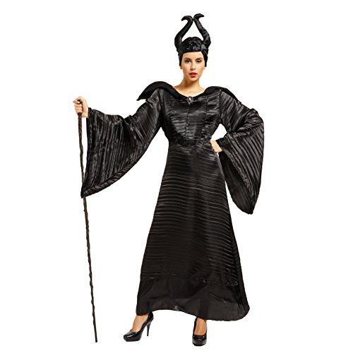 Erwachsene Damen Maleficent Kostuem die dunkel Fee slepping curse mit Brosche Hoernemaske f. Halloween Karneval Party