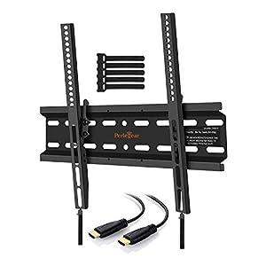 TV Wandhalterung, Perlegear Halterung Neigbar für 23-55 zoll Flach&Curved Fernseher oder Monitor bis zu 60kg, max.VESA 400x400mm