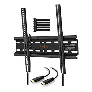Perlegear TV Wall Bracket, Tilt TV Mount for Most 23-55 inch LED, LCD, OLED, Plasma Flat&Curved TVs up to 60kg, Max VESA 400x400mm, HDMI Cable and Cable Ties included