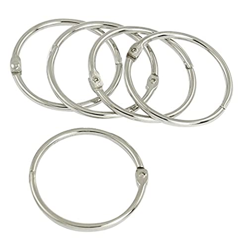 5 Pcs 4cm Diameter Clip Closure Silver Tone Metal Key Chain Keyring