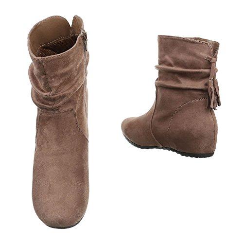 Femininas Ankle Boots Cunha Luz Zipper Sapatos Ankle Boots Ital Cunha Cunha Salto design Planalto Marrom Calcanhar 8E0P6W7