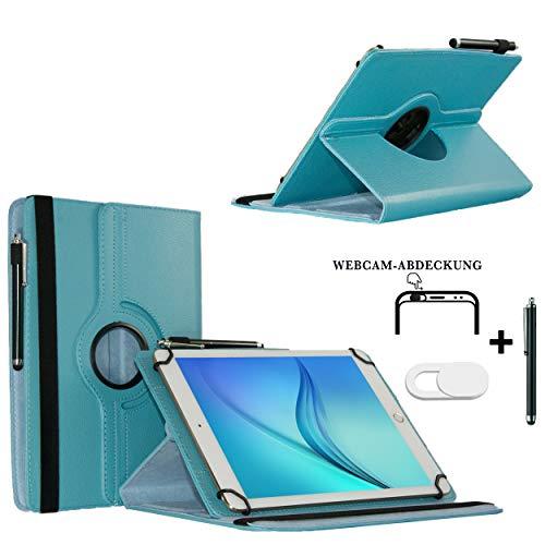 Tablet Schutzhülle 10.1 Zoll für NINETEC Ultratab 10 Pro Hülle Etui Case mit Touch Pen und Webcam-Abdeckung- Türkis 3in1