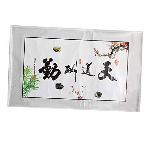 B Blesiya Chinesisches Schriftzeichen Dekorative Hintergrund Aufkleber für Aquarium Fisch Tank - Weiß
