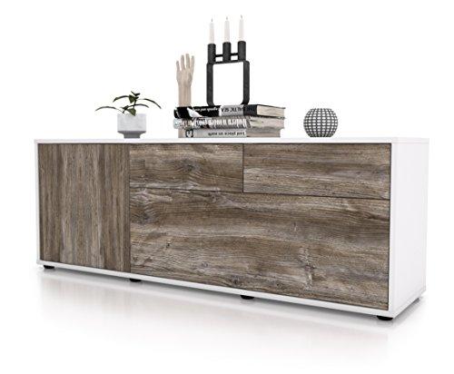 Stil.Zeit Möbel TV Schrank Lowboard Annabell, Korpus in Weiss Matt/Front im Holz-Design Treibholz (135x49x35cm), mit Push-to-Open Technik und Hochwertigen Leichtlaufschienen, Made in Germany