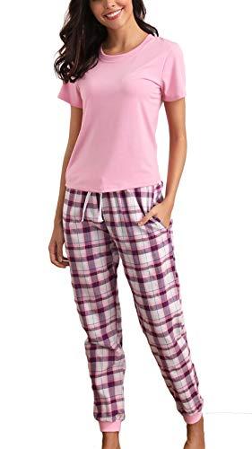 85e49d46f9 Giorzio Damen Schlafanzug Hausanzug Kurzarm Pyjama für Frauen T-Shirt  Zweiteiler O-Ausschnitt Baumwolle