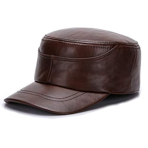 XIANV Erwachsene Unisex wasserdichte Baseball Cap Leder Peak Hat Outdoor Warmer,Darkbrown,XXXL
