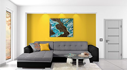JUSTyou Fortuna Canapé d'angle Sofa canapé lit Simili Cuir Tissu structuré (lxLxH): 165x270x80 cm Noir Gris I Angle Gauche