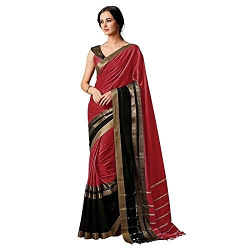Indira Designer Women's Red Color Cotton Silk Plain Saree With Blouse