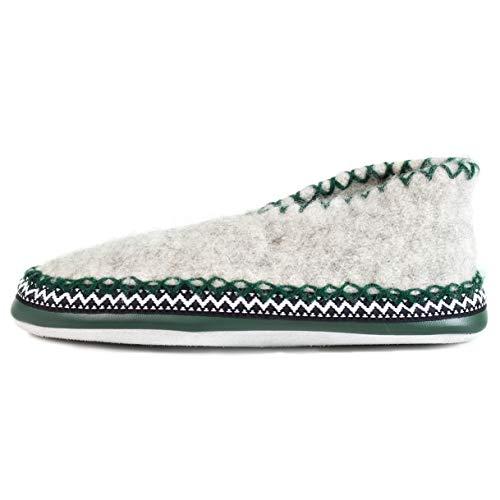 Woolwaves - Hüttenschuhe Unisex für Frauen & Männer, Gemütliche & Warme Pantoffeln, hochwertiger Wollhausschuh, Leichter Hausschuh mit weicher Ledersole