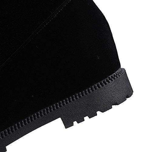 AgooLar Femme Couleur Unie à Talon Correct Zip Rond Bottes avec Métal Noir