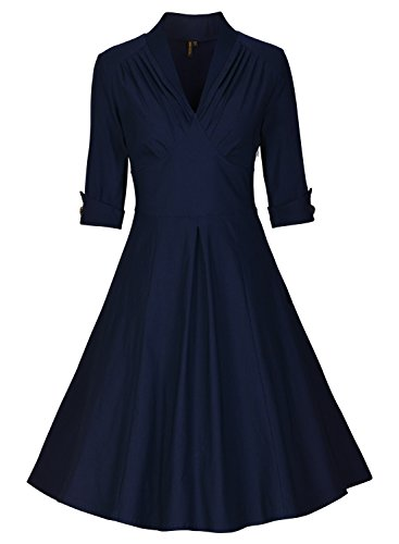 Miusol Damen 3/4 Arm Sommer Rockabilly Cocktailkleid Stretch Business retro 50er Jahre Kleid Blau Groesse 3XL -