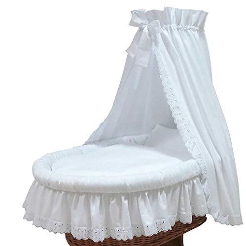 Babymajawelt® Ersatz Bett Set für Stubenwagen - 7 Teile, Bettwäsche, Nestchen, Himmel, Steppbett, Spannbetttuch (ohne Stubenwagen) (Romantic)