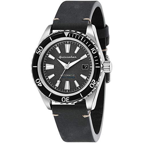 SPINNAKER Men's Fleuss 43mm Leather Band Steel Case Automatic Watch SP-5056-02