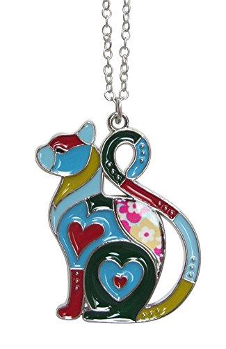 Schmuckmodefashion Halskette, Anhänger, Niedlich, Katze, Herz, Stahl, emailliert, Mehrfarbig -