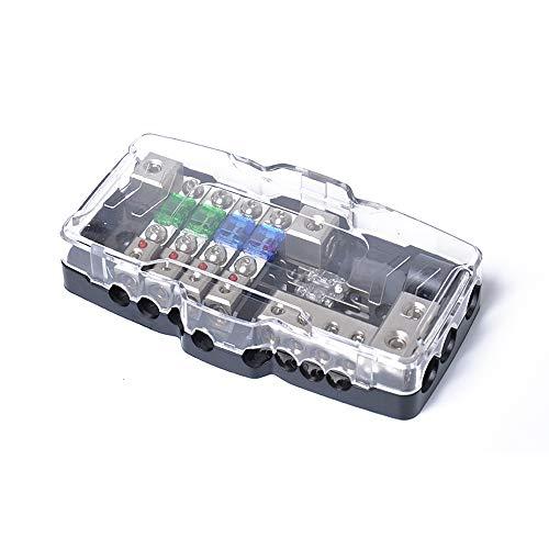Preisvergleich Produktbild Car Audio Stereo Verteilung Sicherungshalter mit Boden Negativ Mini ANL Sicherungskasten Verteilung 0 / 4ga 4 Fach Sicherungskästen 30A 60A 80Amp Rote LED Anzeige