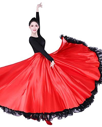 Kostüm Tanz Frauen Flamenco - Grouptap Flamenco rot Satin Spitze spanisch mexikanisch Maxi Lange schaukel Tanz Rock Erwachsene Frauen Damen Farbe wickelkleid tänzerin kostüm (Rot, Standardgröße)