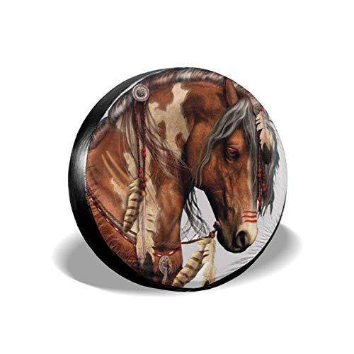 j65rwjtrhtr Reifenabdeckung Oil Painting HOT Indian Brown Feather Horses Polyester Universal Spare Wheel Reifenabdeckung Radzierblenden Trailer RV SUV Truck Camper Travel Trailer Accessories