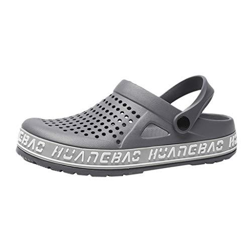 Gartenschuhe Slip-On für Herren/Skxinn Männer Hausschuhe Atmungsaktiv Mesh Pantoletten Slip-on rutschfest Walking Sandalen Bequem Flache Sommer Schuhe Ausverkauf(Z2-Grau,43 EU)
