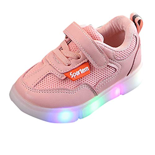 Vovotrade Mädchen Süße Fliege LED Licht Sportschuhe Baby Prinzessin Modisch Leuchtend Weich Leichtgewicht Schnürhalbschuhe Sneaker Freizeit Lederschuhe Laufschuhe