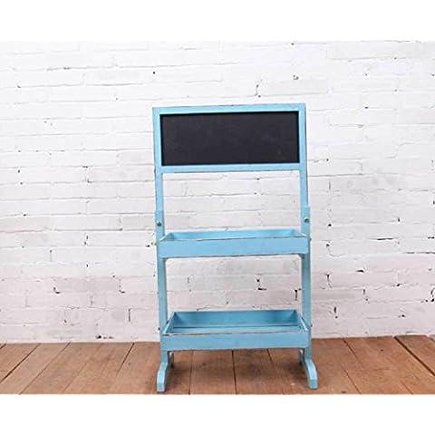 New day-El estante de dos pisos rural racks de la pizarra de la pared de la lona de la decoración de la pared hace compras la publicidad 43 * 22 * ??78CM , blue , 43*22*78cm