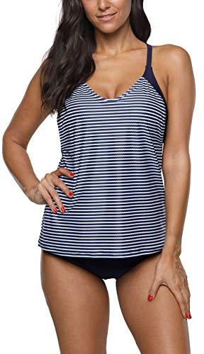 BeautyIn Damen Tankini Sets Blouson Halter Zweiteiliger Badeanzug Sportlich Schwimmanzug Bademode, Blau/Streifen, S (Badeanzug Top Blouson)