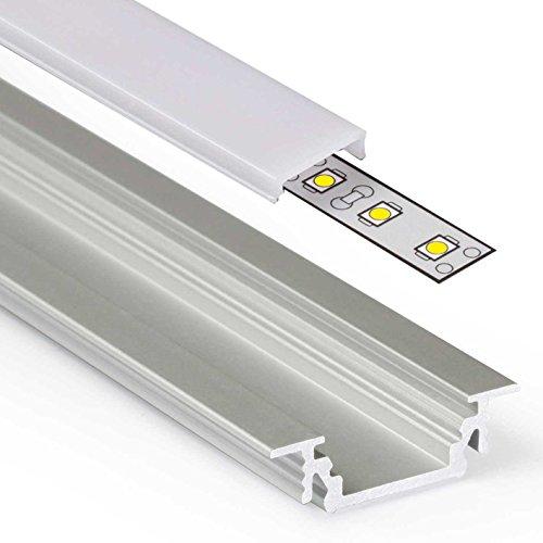 2m Aluprofil GROOVE (GR) 2 Meter Aluminium Profil-Leiste eloxiert für LED Streifen - Set inkl Abdeckung-Schiene milchig-weiß opal mit Montage-Klammern und Endkappen (2 Meter milchig click)
