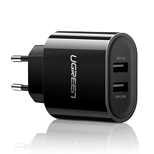 UGREEN Cargador doble USB 2.4A y 1A, Adaptador USB con Enchufe Europeo para Cargador iPhone 6 plus,6,5,5S,4S, Móvil, Tablet, EBook, MP3, Cámara de acción y otros dispositivos USB (2 Puerto - Negro)