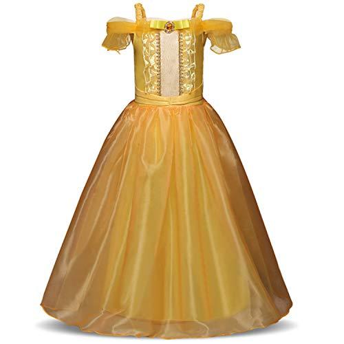 Belly Dancer Kostüm Baby - RBHSG 4 7 8 9 10 Years ELSA Dress Children Role-Play Costume Princess Cinderella Girls Ball Gown Party Christmas Cosplay Vestido Blue Yellow 9
