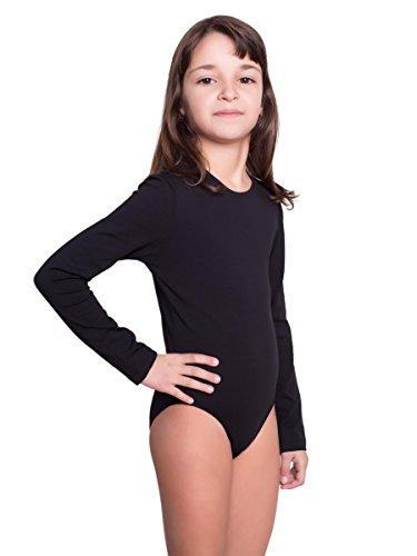 Dafi Kinder Langarm-Body in Schwarz | Mädchen-Body Rundhals-Ausschnitt | Gr. 152 | Druckknöpfe im Schritt | Kinderwäsche aus Baumwolle | Pflegeleicht & komfortabel | Turnbody | Ballett-Trikot