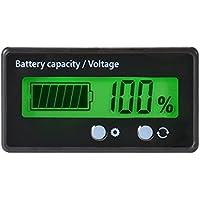 Medidor de capacidad de la batería LCD Medidor de indicador, impermeable 12V / 24V / 36V / 48V Indicador de estado de la batería de plomo ácido, Medidor de capacidad de la batería de litio Medidor de voltaje Monitor Luz de fondo verde para la batería del vehículo